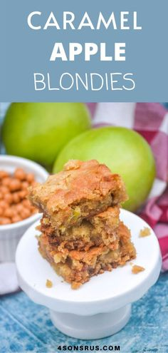 Brownies tend to get all the hype, but blondies are just as yummy and easy to make from scratch. These caramel apple blondies are a delicious dessert infused with sweet chopped apple chunks, and gooey caramel bits. It's the perfect indulgence to celebrate several of your favorite Fall flavors! #recipe #food #easyrecipe Kid Recipes, Best Dessert Recipes, Amazing Recipes, Easy Desserts, Delicious Desserts, Healthy Recipes, Caramel Bits, Caramel Apples, Cook Smarts