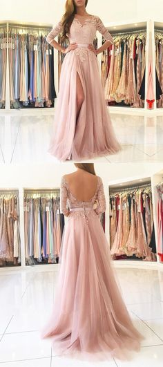 Blush Pink Prom Dress,Illusion Prom Dress,Long Sleeve Prom Dress,Chiffon Lace Evening Dress with High Slit