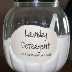 Homemade Powdered Laundry Detergent.  Just 3 ingredients- entire box of Borax, entire box of Super Washing Soda  1 bar of Fels-Naptha!  Easy!  We use this and love it!  :)