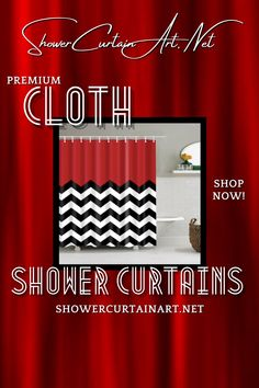 Our luxurious high quality fabric shower curtains are all made with 100% premium grade soft polyester cloth. This allows the curtain to drape gracefully while also providing quick drying technology which easily evaporates any unwanted moisture. Shower Curtain Art, Modern Shower Curtains, Striped Shower Curtains, Fabric Shower Curtains, Bathroom Shower Curtains, Drapes Curtains, Red Fabric, Zig Zag, Custom Fabric