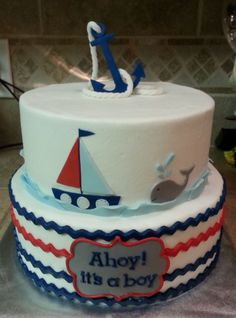 Ahoy! It's a boy! (hehe) Here's a nautical baby shower cake I did for my cousin's wife. Adorbs, if I do say so myself. Perfect for a nautical baby shower.