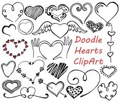 Doodle Hearts Clipart Heart clip art Digital by PassionPNGcreation