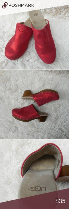 Shimmery Red Youth Ugg Mules Beautiful gently used youth shimmery red slides. Says youth 4 but also fits a women's 6. Soft wool under balls of feet for warmth and comfort. SO SOFT! Flaw: there is some sticky residue from the sticker tag on the insole of the right shoe (as shown in listing) but they are otherwise in good condition.   Materials: Upper: leather Lining: leather and genuine sheepskin Outer: rubber UGG Shoes Boots