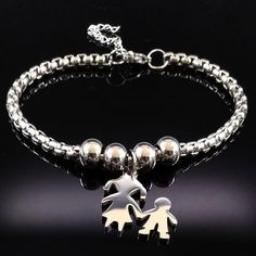 Mother and Child Stainless Steel Bracelet Metal Bracelets, Jewelry Bracelets, Jewellery, Stainless Steel Chain, Stainless Steel Bracelet, Mothers Bracelet, Mother And Child, Fashion Bracelets, Types Of Metal