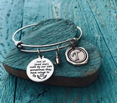 Not All Loved Ones Walk By Our Side Memorial Miscarriage Loss Of Silver Bracelet Charm Child Mom Dad Sister Gifts For