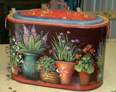 I painted this canner with JoSonja Jansen's wonderful Potting Shed design.