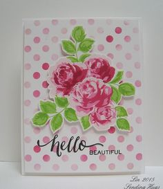 I'm still playing with these Vintage Roses, this time paired up with some polka dots. supplies: Altenew Vintage Roses, Wplus9 Hand-Written Hello, Simon's Medium DotsStencil, 4 shades of pale pink to raspberry ink.