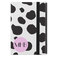 Monogram - Animal Print Cow Spots - Black Pink iPad Mini Case - monogram gifts unique custom diy personalize