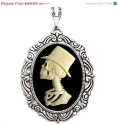 Skeleton Man Cameo Necklace - Lolita's Groom - Gothic Jewelry