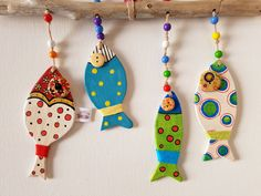 Polka dot handpainted wooden fish for garden Fish mobile wall Fish Crafts, Clay Crafts, Wood Crafts, Clay Fish, Ceramic Fish, Ceramica Artistica Ideas, Fish Mobile, Lake Decor, Wooden Fish