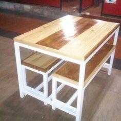 DONEdetail dinning table custom RM dapur DKmaterial kayu pinuskaki besi 4 x…