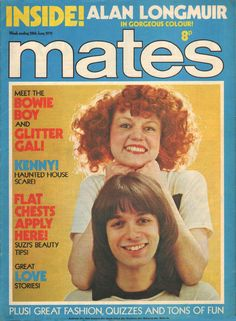 Alan Merrill (Arrows) and model Rusty on the cover of Mates magazine UK, June Vodka Collins, The Bowie, Great Love, Arrows, Quizzes, Pinup, June, How To Apply, Singer
