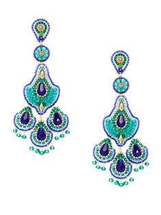Miguel Ases Jewelry Blue & Green Chandeller Drop Earrings