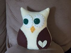 Pale Yellow Owl with Brown Wings by SweetKountryStitchin on Etsy, $8.00