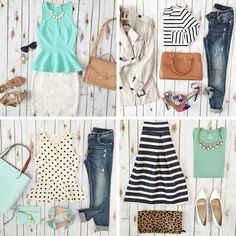 Four super easy and cute outfits to wear! See more: http://www.stylishpetite.com/2015/04/instagram-lately-and-weekend-sales.html