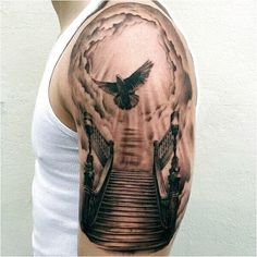 Heaven Half Sleeve Tattoo Designs 50 heaven tattoos for men - higher . Stairway To Heaven Tattoo, Gates Of Heaven Tattoo, Heaven Tattoos, Heavens Gate Tattoo, Half Sleeve Tattoos For Guys, Half Sleeve Tattoos Designs, Best Sleeve Tattoos, Tattoo Designs, Tattoo Ideas