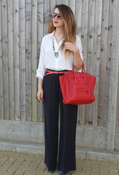 Palazzo Trousers Outfit  , Celine in Bags, hobbs in Baggy Pants, Topshop in Shirt