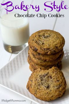 Bakery Style Chocolate Chip cookies blow ANY other chocolate chip cookie out of the water!! Secret tips and tricks to making these cookies that are just like you get at a bakery. Bites of chocolate in every bite and oh so soft! These are cookies that you HAVE to try!!