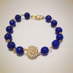 Blue and Gold Bead Bracelet by shopamourcouture on Etsy, $15.00