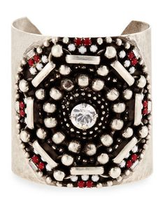 Santiago Geometric Wide Cuff Bracelet, Matte Red by Dannijo at Neiman Marcus.