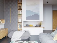 Modern interior with plywood decor elements