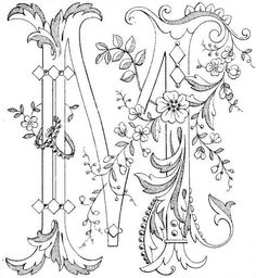 Embroidery design tutorial on hand Embroidered & # M & # about the fabulous Mary Corbet . Embroidery design tutorial on hand Embroidered & # M & # about the fabulous Mary Corbet Nee Embroidery Letters, Ribbon Embroidery, Embroidery Stitches, Machine Embroidery, Embroidery Designs, Colouring Pages, Adult Coloring Pages, Coloring Books, Alphabet Art