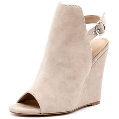Wanted Teramo Nude Suede (9.270 RUB) ❤ liked on Polyvore featuring shoes, pumps, peep toe shoes, high heel pumps, peep toe pumps, open back shoes and suede peep toe pumps
