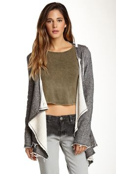 "Vintage Havana ""Long Sleeve Raw Trim Draped Jacket"" (Grey) on @nordstrom_rack"