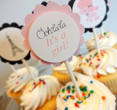 Paris Baby Shower Cupcake Toppers by SprinklesPaperieCo on Etsy, $10.00
