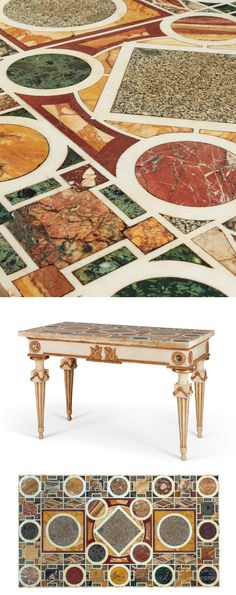 Italian Marble Flooring, Neoclassical, Siena, Terrazzo, White Marble, Console Table, 18th Century, Granite, Red And White