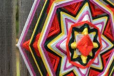 Happiness a 12 inch cotton yarn mandala Ojo de Dios by