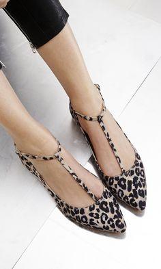 leopard t-strap flats