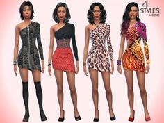 The Sims Resource: 4 Styles dresses by Paogae • Sims 4 Downloads