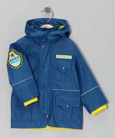 Take a look at this Navy 'Police' Cargo Pocket Raincoat - Infant, Toddler & Boys on zulily today!