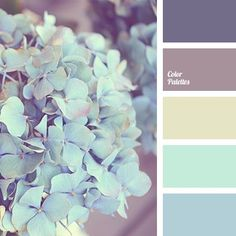 Color Palette #1817 The colour of eggshell is combined with a light turquoise shade, and dark lilac looks great against such a background.