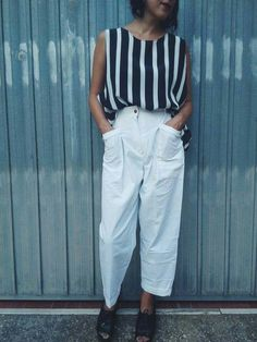 80s outfit On sale ...white trousers highwaist €18,00 / striped croptop €15,00 #outfit #vintage #croptop #stripedtop #highwaisttrousers #80s #vintageclothes #shop #vintageshop #retroclothes