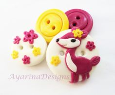 Bamby - set of 4 polymer clay buttons