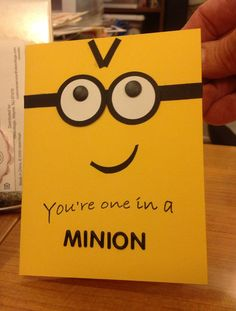 Minion birthday card - LOVE the minions (even purple ones :) )