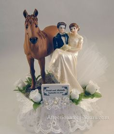 Two Trails Become One Horses With Bride and Groom Customized Wedding or Anniversary Cake Topper.  Shown In White With White Accents With Sorrel/Chestnut Horse.  Personalized Medium Brown Hair on Bride and Dark Brown Hair On Groom.  Includes Personalized First Names and Date Plate.  http://www.affectionately-yours.com/two-trails-become-one-horses-wedding-cake-topper/