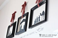 """""""Oh come let us adore Him"""" - vinyl decals with frames placed over top"""