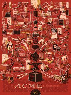 "I Spy Gold - The ACME Corporation Rob Loukotka Digital (screen print) 18x24"""