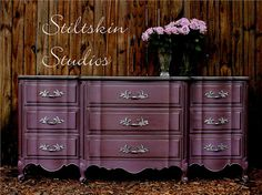Purple Dresser with pewter top and hardware