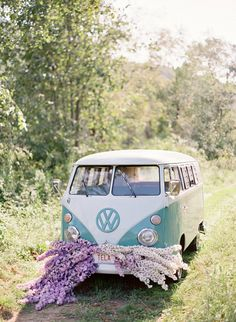 Jose Villa Photography - VW bus with purple flowers love it