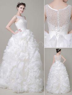 Ball Gown Wedding Dress Pearls Sequined Organza Tiered Floor Length Bridal  Dress Abito Da Nozze 7fad29f49b8