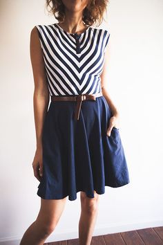 love this nautical look // striped navy and white dress made with organic cotton