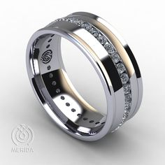 131006 - Comfort Fit Grooved Edge Diamond Band - Merida Wedding Bands - 1