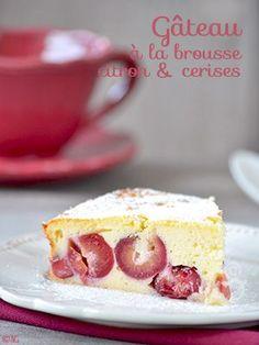 Gâteau à la brousse, zestes de citron & cerises Pour un moule de 20 cm (un peu haut) ou de 22 cm : - 400 gr de brousse - 35...