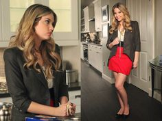 Style Story: Hanna Marin       Can we pick a favorite outfit of Hanna's? No way BUT this one ranks up there with the best. Hanna certainly can do no wrong in our eyes and this skirt and blazer combo is sheer perfection. She looks polished, hip and utterly fabulous. The fashion detailing on the back of the blazer really sets this outfit on fire. When you are looking for blazers to add to your collection, keep an eye out for unique details that really make your outfits stand out.