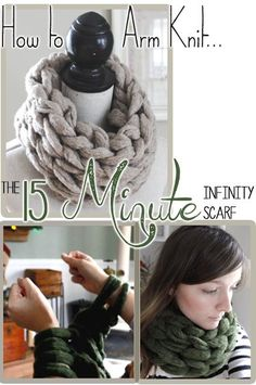 How to Arm Knit an infinity scarf in 15 Minutes with Simply Maggie. www.SimplyMaggie.com