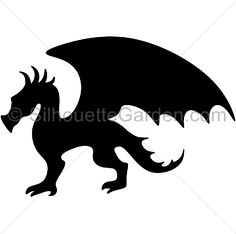Dragon silhouette clip art. Download free versions of the image in EPS, JPG, PDF, PNG, and SVG formats at http://silhouettegarden.com/download/dragon-silhouette/
